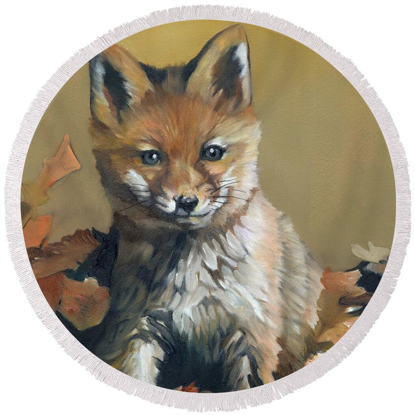 Fox Round Beach Towel featuring the painting Once Upon A Time by J W Baker