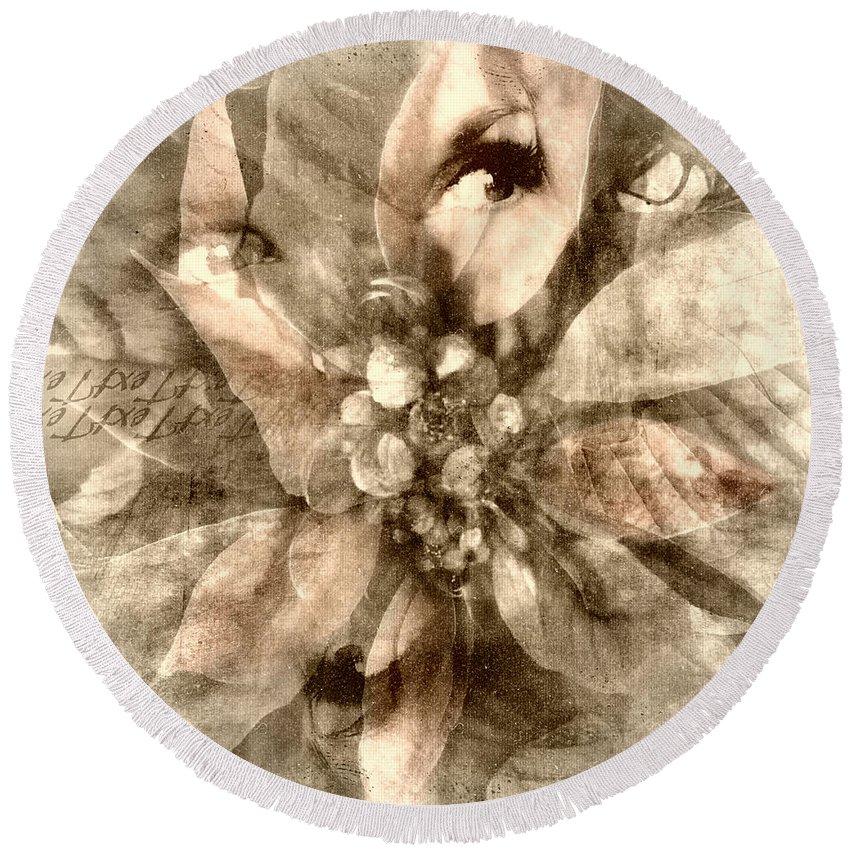 Digital Art Round Beach Towel featuring the digital art Once Upon Grandmom's Poinsettia by Melissa D Johnston