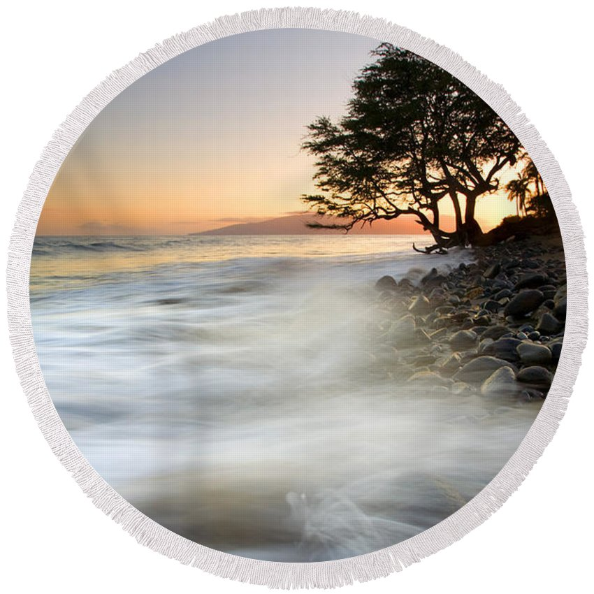 Sunset Round Beach Towel featuring the photograph One Against The Tides by Mike Dawson