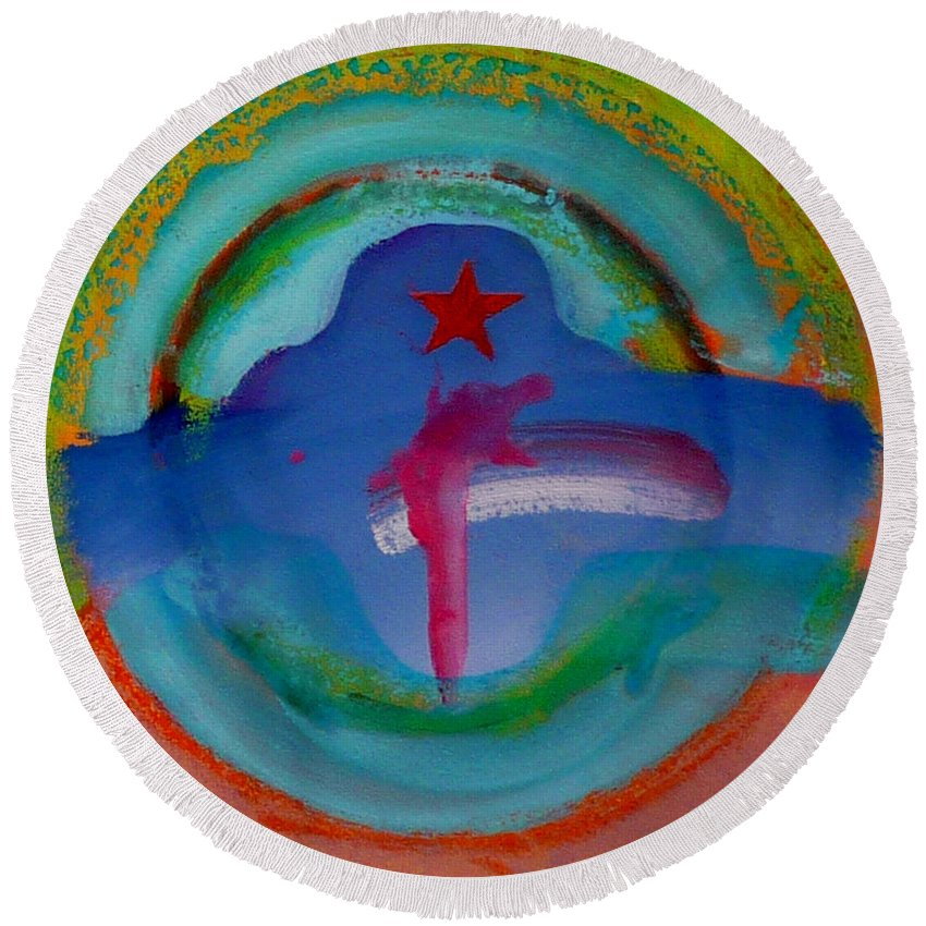 Logo Round Beach Towel featuring the painting one by Charles Stuart