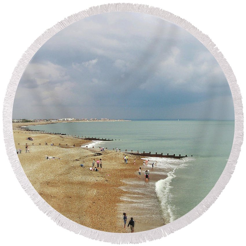 Connie Handscomb Round Beach Towel featuring the photograph One Cool Beach Day by Connie Handscomb