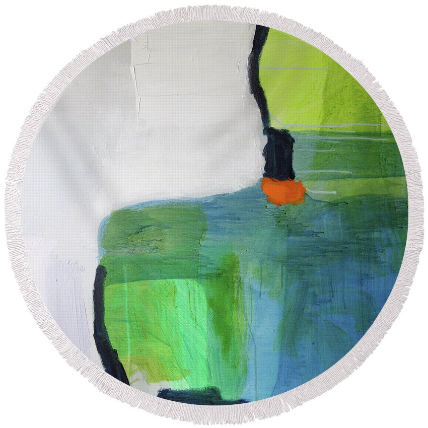 Abstract Round Beach Towel featuring the painting One Day I Was Dreaming by Claire Desjardins