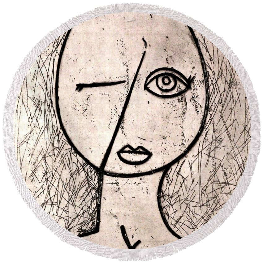 Clay Round Beach Towel featuring the relief One Eye by Thomas Valentine