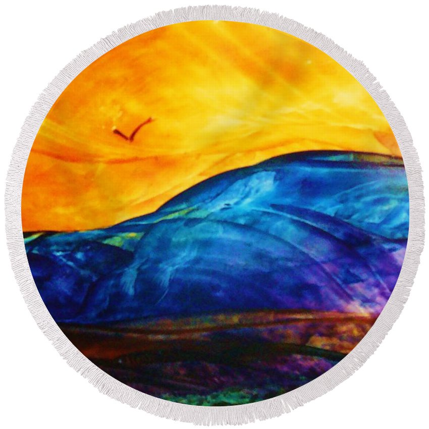 Landscape Round Beach Towel featuring the painting One Fine Day by Melinda Etzold