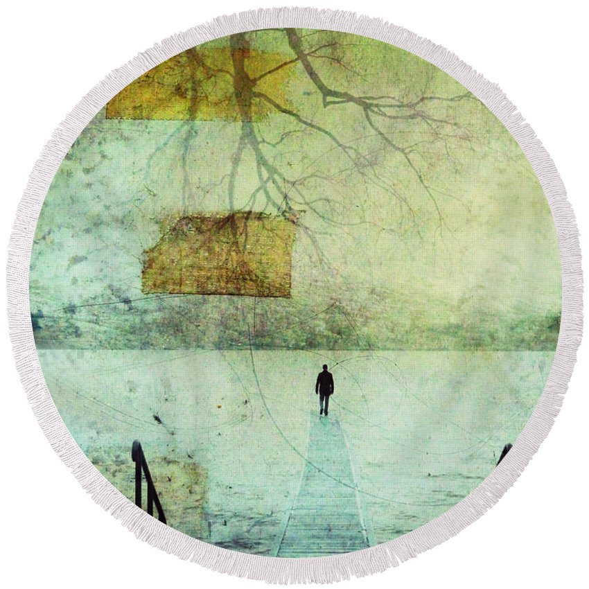 Man Round Beach Towel featuring the photograph One Man In The Winter Of His Life by Tara Turner