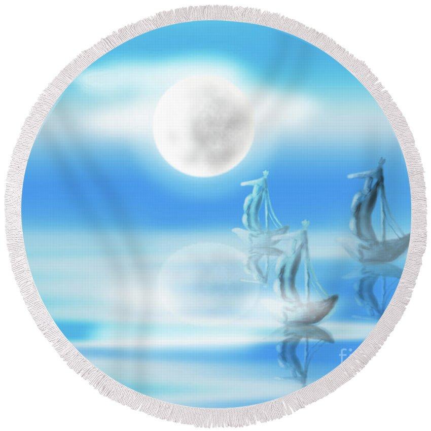 Moon Light Round Beach Towel featuring the painting One Moon Light Sea by Artist Nandika Dutt