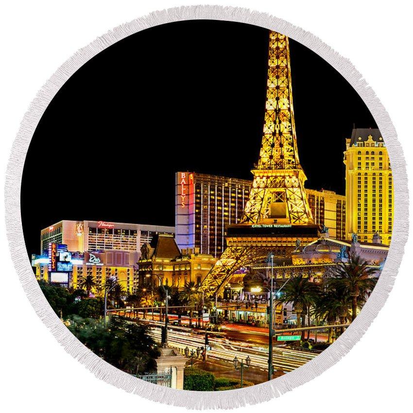 Las Vegas Round Beach Towel featuring the photograph One Night In Vegas by Az Jackson