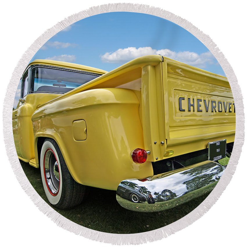Classic Chevrolet Round Beach Towel featuring the photograph One Of A Kind by Gill Billington