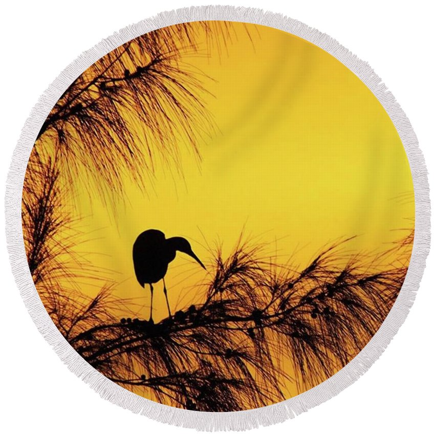 Egret Round Beach Towel featuring the photograph One Of A Series Taken At Mahoe Bay by John Edwards