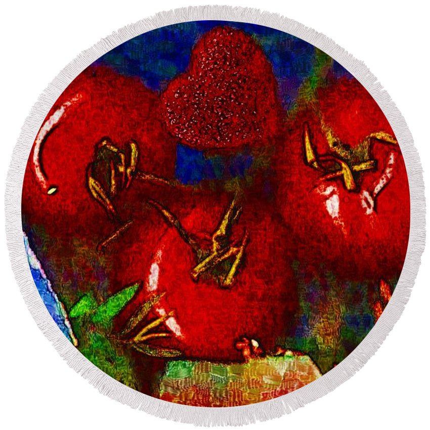 Tomatoes Round Beach Towel featuring the mixed media One Of Those Beautiful Still Life by Pepita Selles