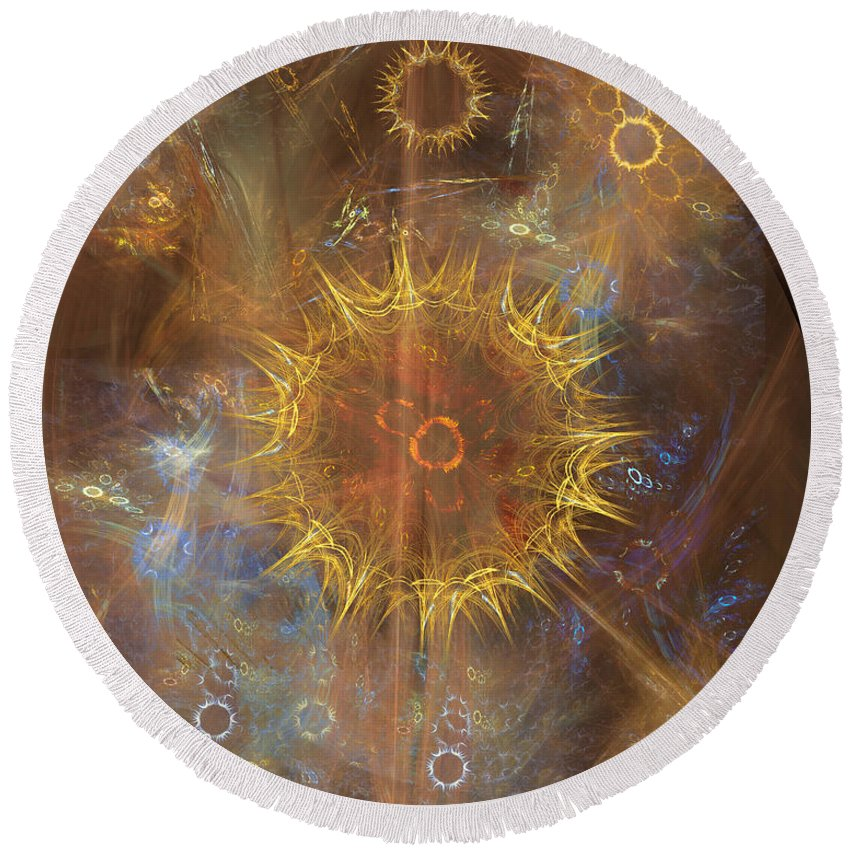 One Ring To Rule Them All Round Beach Towel featuring the digital art One Ring To Rule Them All by John Beck