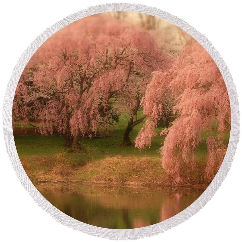 Cherry Blossom Trees Round Beach Towel featuring the photograph One Spring Day - Holmdel Park by Angie Tirado