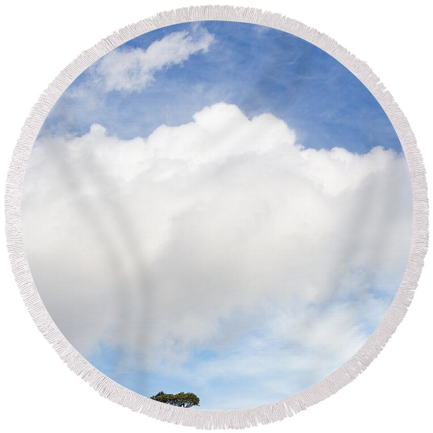 Landscape Round Beach Towel featuring the photograph One Tree Hill by Mal Bray