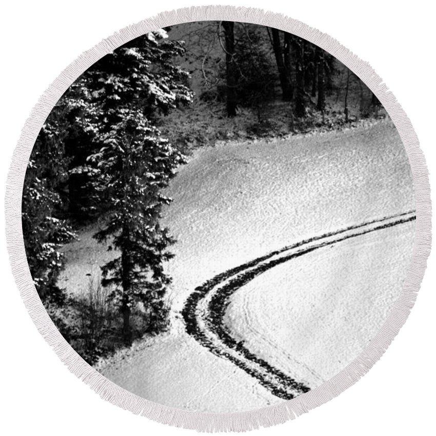 One Way Round Beach Towel featuring the photograph One Way - Winter In Switzerland by Susanne Van Hulst