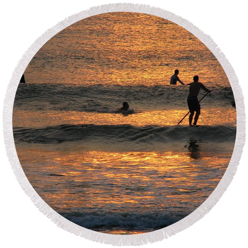 Art For The Wall...patzer Photography Round Beach Towel featuring the photograph One With Nature by Greg Patzer
