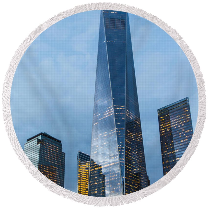 Canon Round Beach Towel featuring the photograph One World Trade Center by SR Green