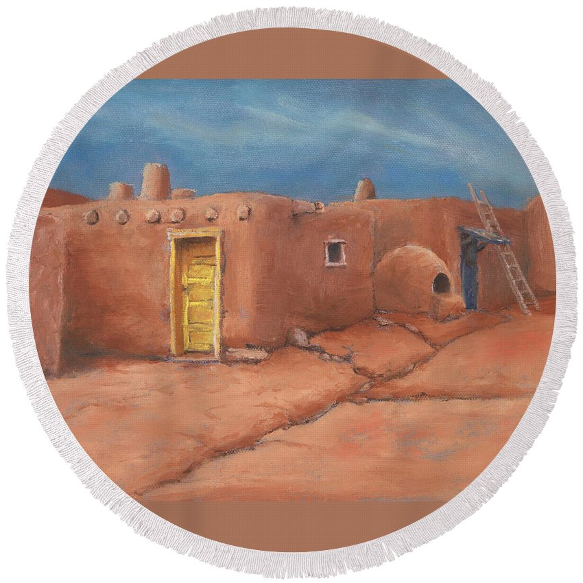 Taos Round Beach Towel featuring the painting One Yellow Door by Jerry McElroy