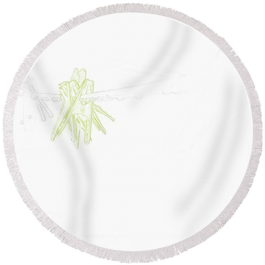Pegs Round Beach Towel featuring the digital art Online Outline by Kate Sadler