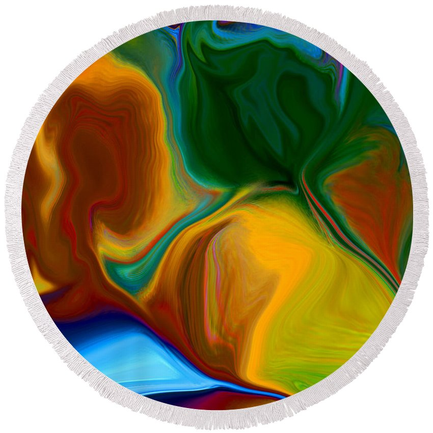 Round Beach Towel featuring the digital art Only One Love by Ruth Palmer
