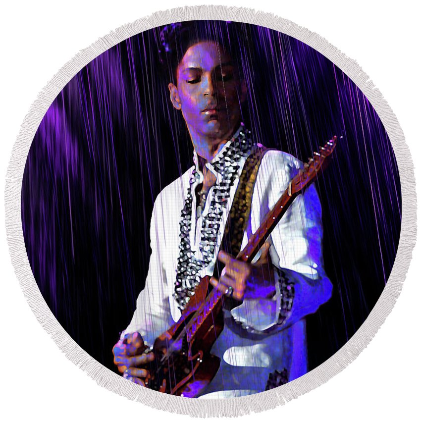 Prince Rogers Nelson Round Beach Towel featuring the digital art Only Want To See You by Mal Bray