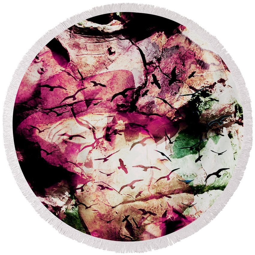 On Your Mind Round Beach Towel featuring the digital art Onyourmind by Sitara Bruns