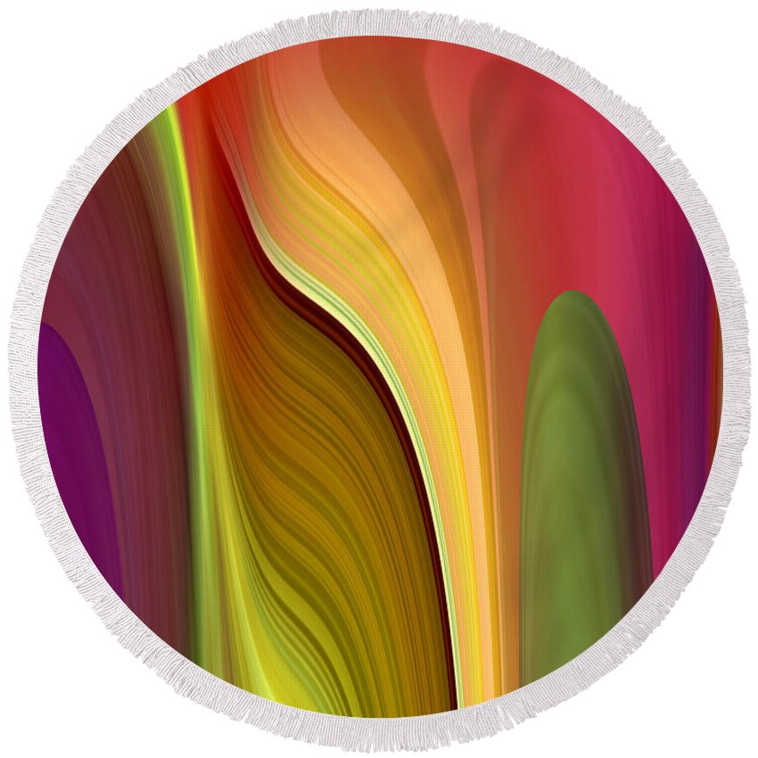 Abstract Round Beach Towel featuring the digital art Oomph by Ruth Palmer