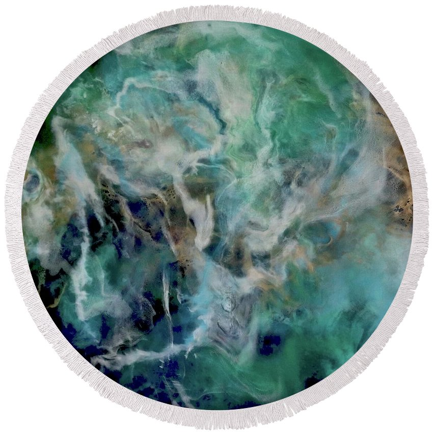 Original Round Beach Towel featuring the painting Opal River by Kim Switzer
