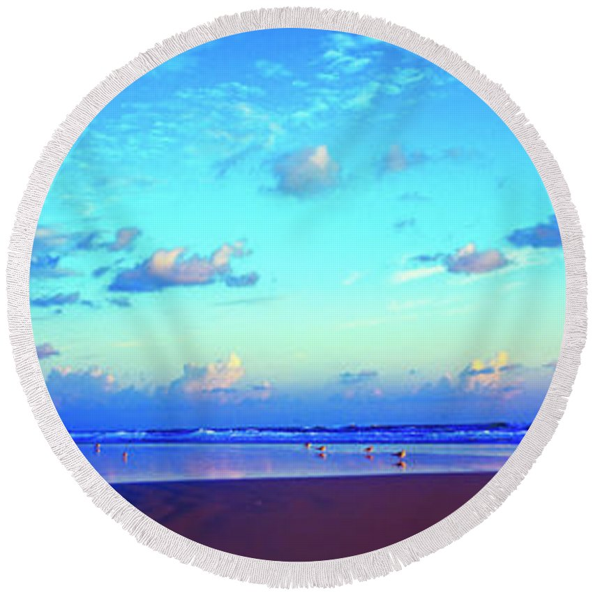 Open Round Beach Towel featuring the photograph Open Beach Ponce Inlet Atlantic Ocean by Tom Jelen