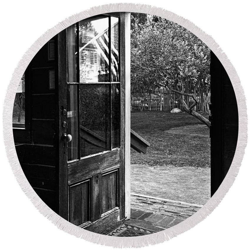 Door Round Beach Towel featuring the photograph Open Door B-w by Christopher Holmes