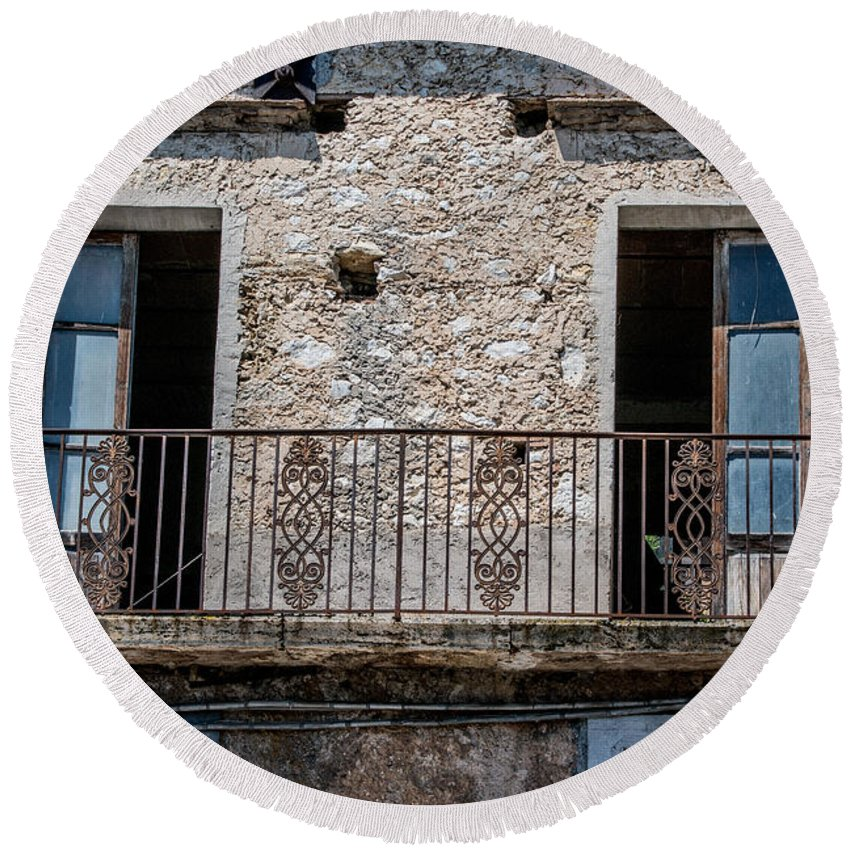 Aquino Castle Round Beach Towel featuring the photograph Open Doors by Joseph Yarbrough
