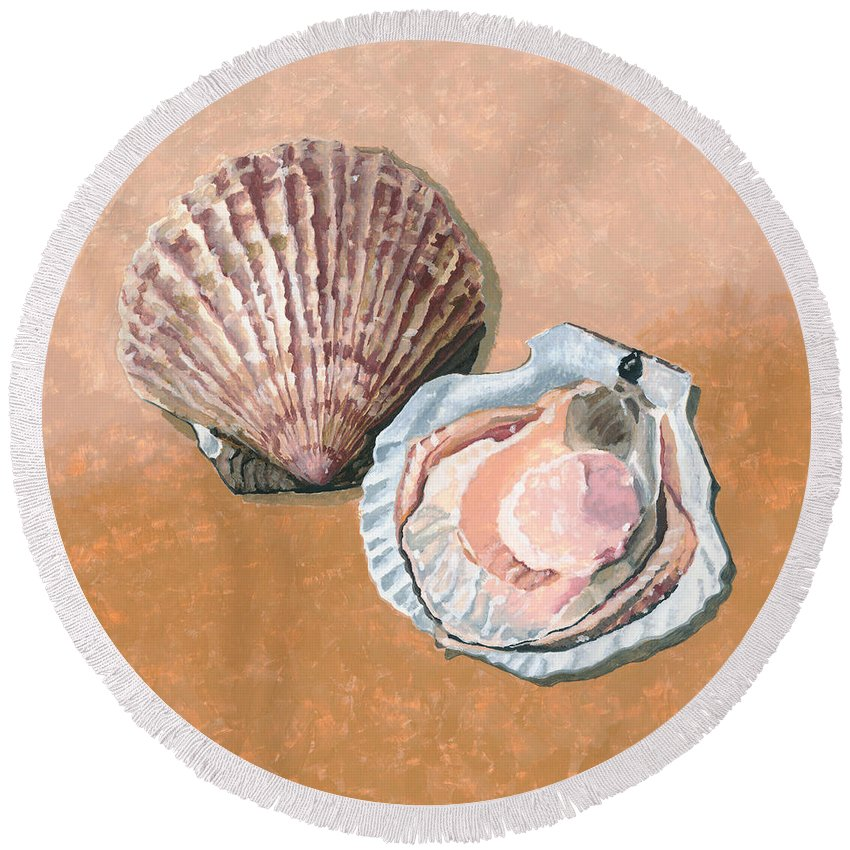 Scallop Round Beach Towel featuring the painting Open Scallop by Dominic White