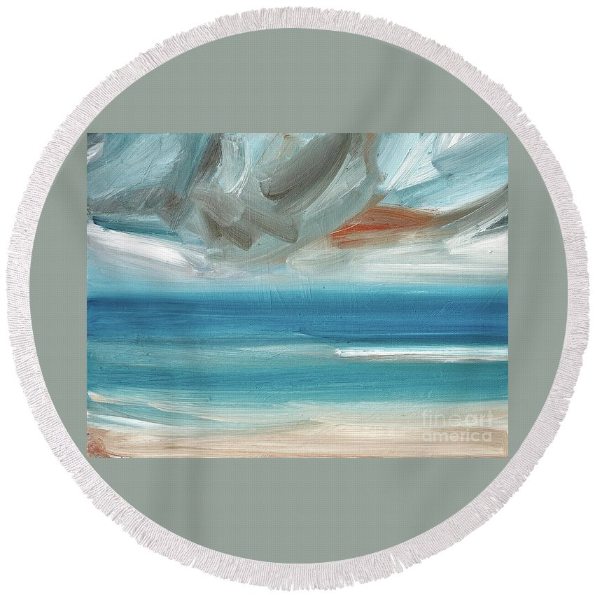 Abstract Round Beach Towel featuring the painting Open Seas by Timothy Gent