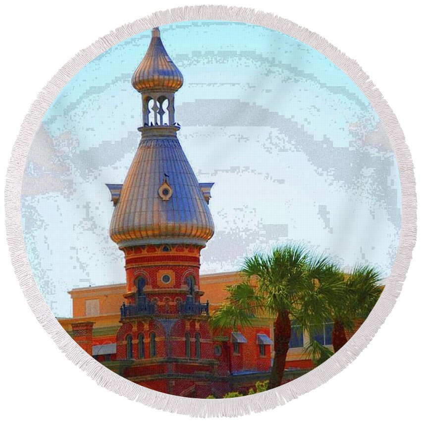 University Of Tampa Round Beach Towel featuring the photograph Open Sky On Ut by Jost Houk