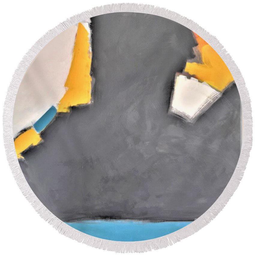 Gray Round Beach Towel featuring the painting Open Water by Kate Speer Ely