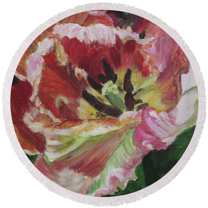 Acrylic Round Beach Towel featuring the painting Opening Up by Kim Selig