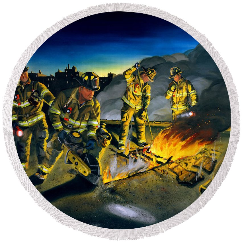 Firefighters In Action Round Beach Towel featuring the painting Opening Up by Paul Walsh