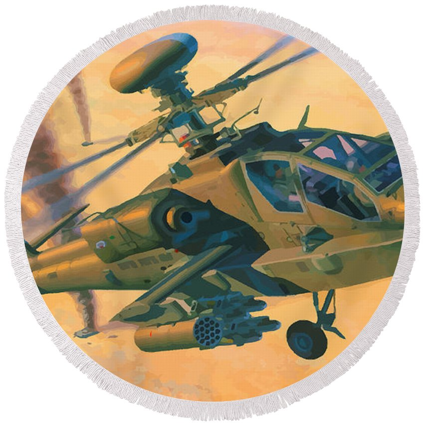 Decorative Round Beach Towel featuring the digital art Operation Apache by Don Kuing
