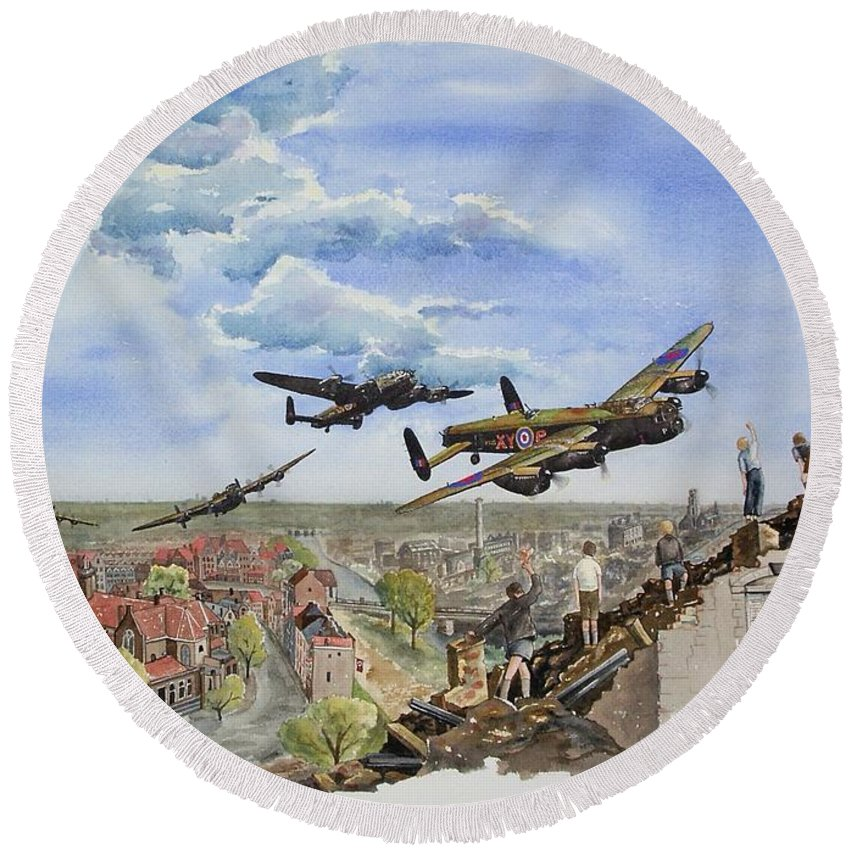 Lancaster Bomber Round Beach Towel featuring the painting Operation Manna I by Gale Cochran-Smith
