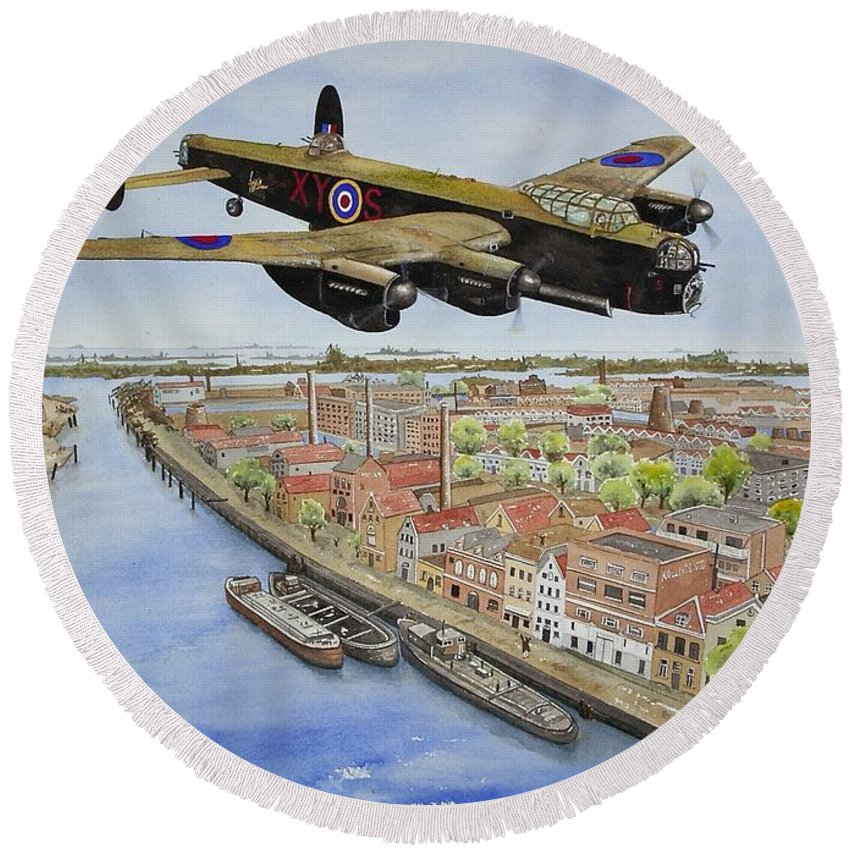 Lancaster Bomber Round Beach Towel featuring the painting Operation Manna II by Gale Cochran-Smith