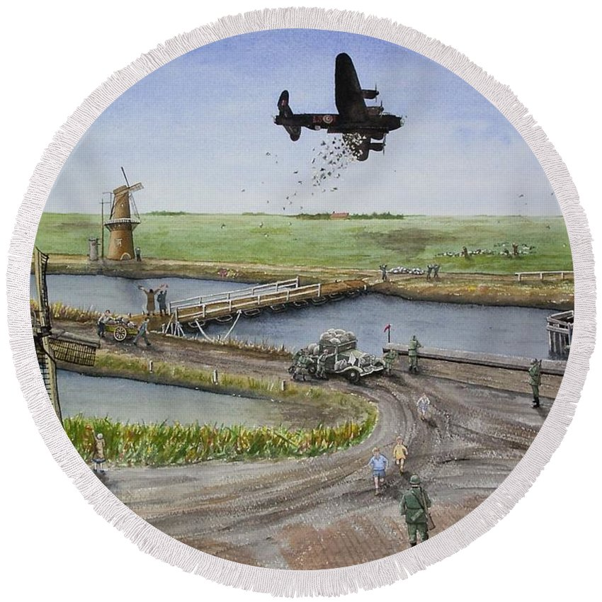 Lancaster Bomber Round Beach Towel featuring the painting Operation Manna IIi by Gale Cochran-Smith