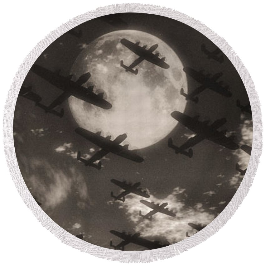 Aviaton Round Beach Towel featuring the digital art Operation Moonlight by Richard Rizzo