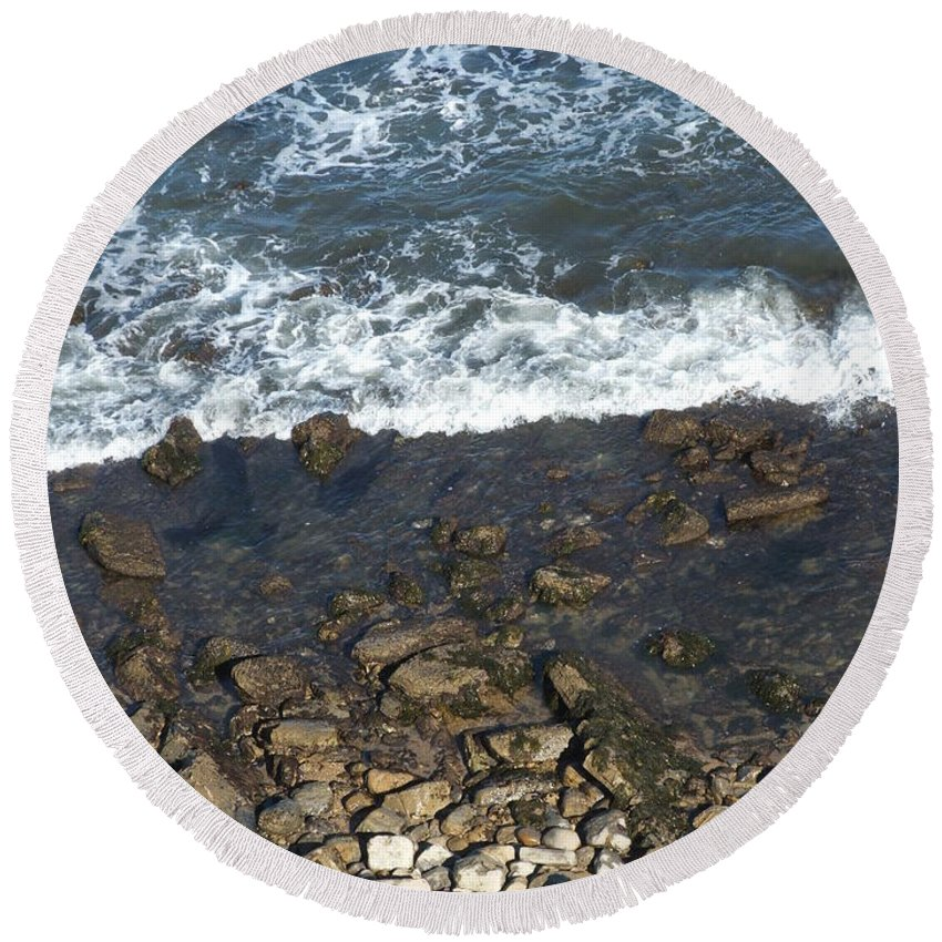 Ocean Round Beach Towel featuring the photograph Opponents by Shari Chavira