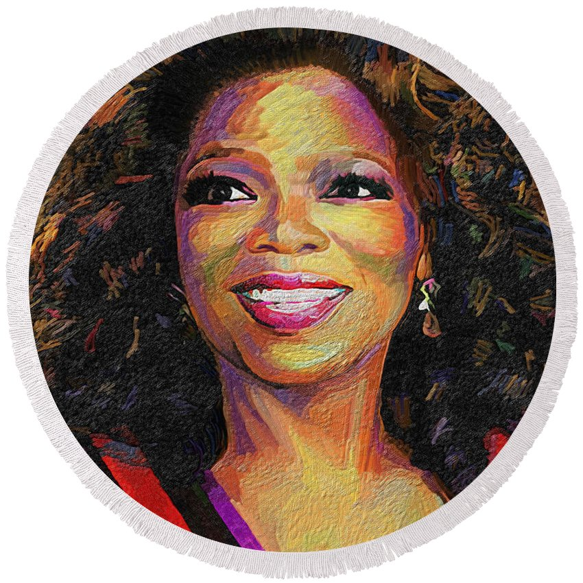 Oprah Round Beach Towel featuring the painting Oprah by James Mingo