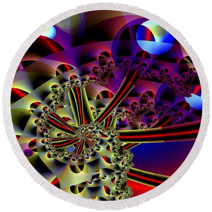 Optic Round Beach Towel featuring the digital art Optic Nerves by Ron Bissett