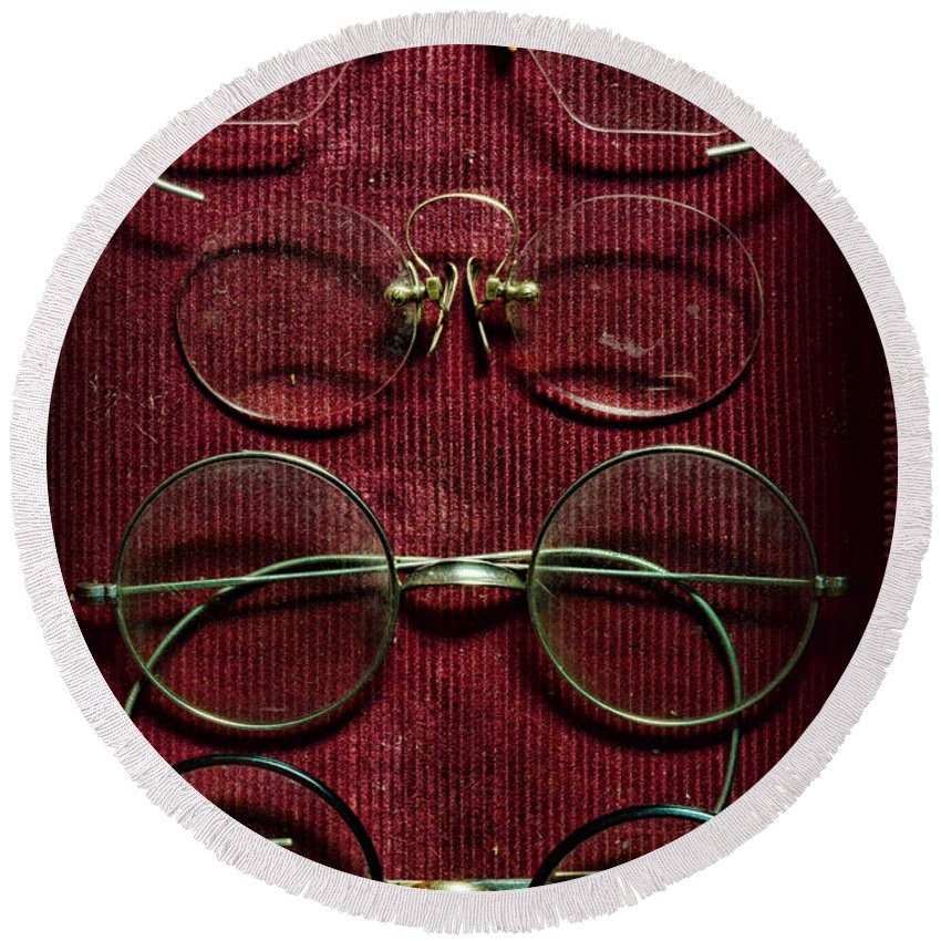 Paul Ward Round Beach Towel featuring the photograph Optometry - Vintage Eyeglasses by Paul Ward
