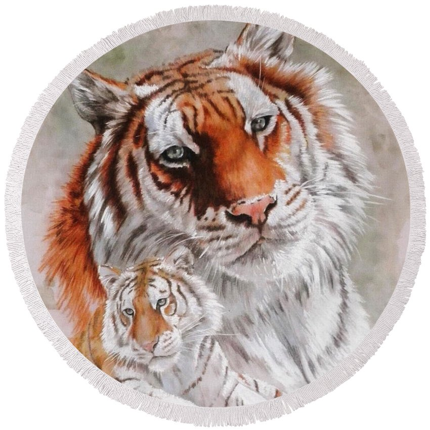 Wildcat Round Beach Towel featuring the mixed media Opulent by Barbara Keith