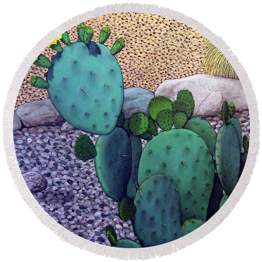 Landscape Round Beach Towel featuring the painting Opuntia by Snake Jagger