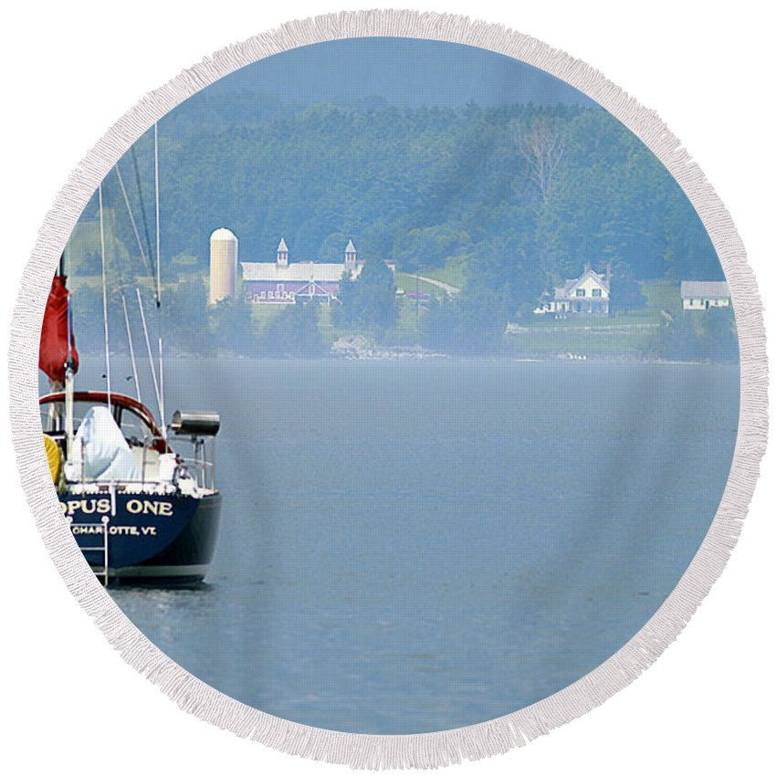 Boat Round Beach Towel featuring the photograph Opus One by Deborah Benoit