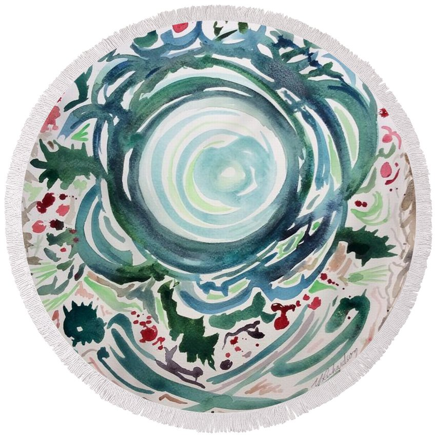 Yule Christmas Wreath Spiral Vortex Round Beach Towel featuring the painting Oracular Yule Wreath by Michael Richardson
