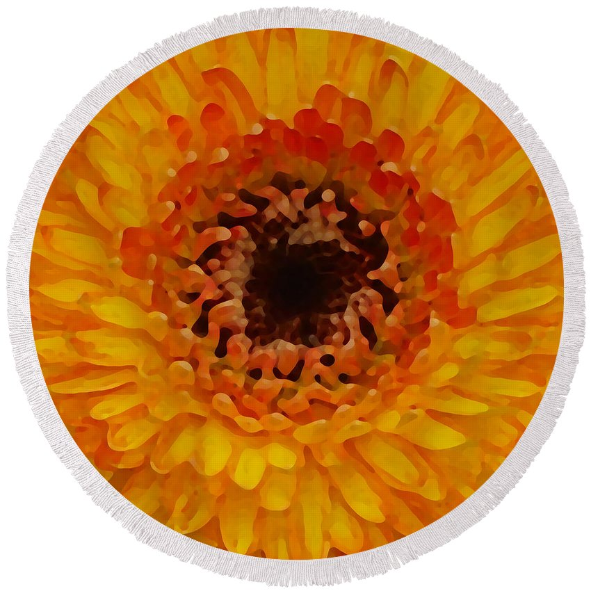 Daisy Round Beach Towel featuring the painting Orange And Black Gerber Center by Amy Vangsgard